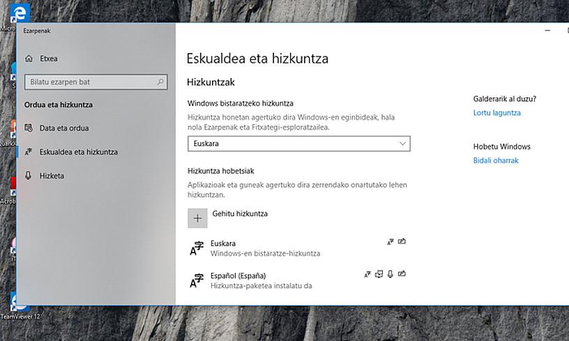 Ordenagailu bat euskaraz konfiguratuta, Windows sistema eragilean.
