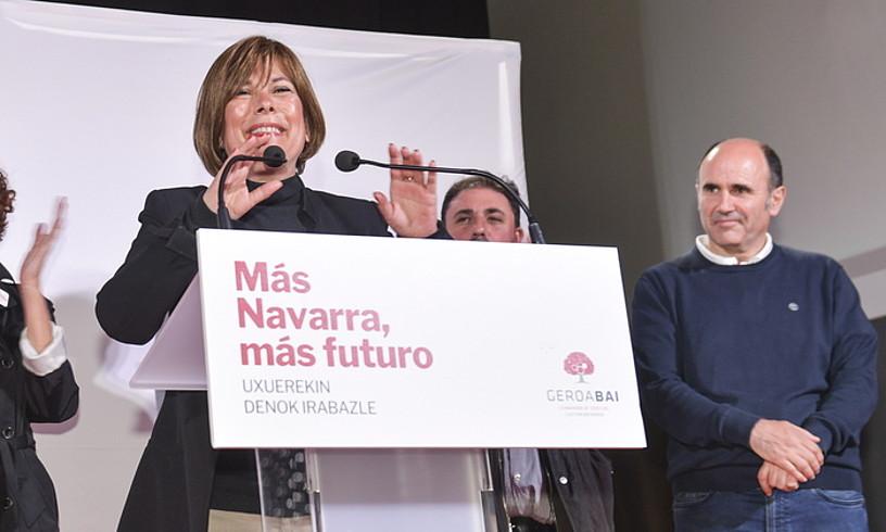 Uxue Barkos Geroa Bairen lehendakarigaia, atzo, Iruñean. ©IDOIA ZABALETA / FOKU