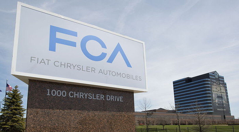 Fiat Chrysler Automobiles (FCA) enpresaren logoa, Chryslerren egoitza nagusian, Auburn Hillsen. ©RENA LAVERTY / EFE
