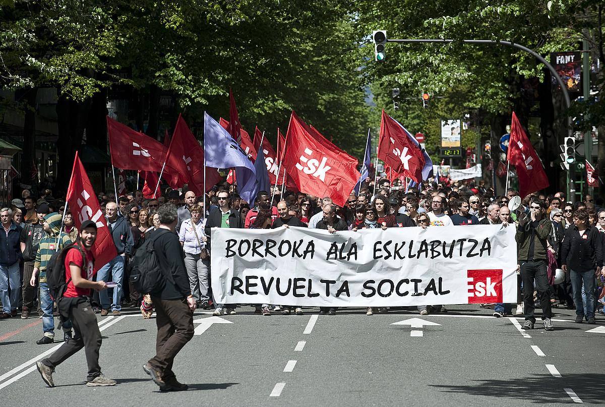 ESK sindikatuaren manifestazio bat, Maiatzaren Lehenean. ©JON HERNAEZ / FOKU