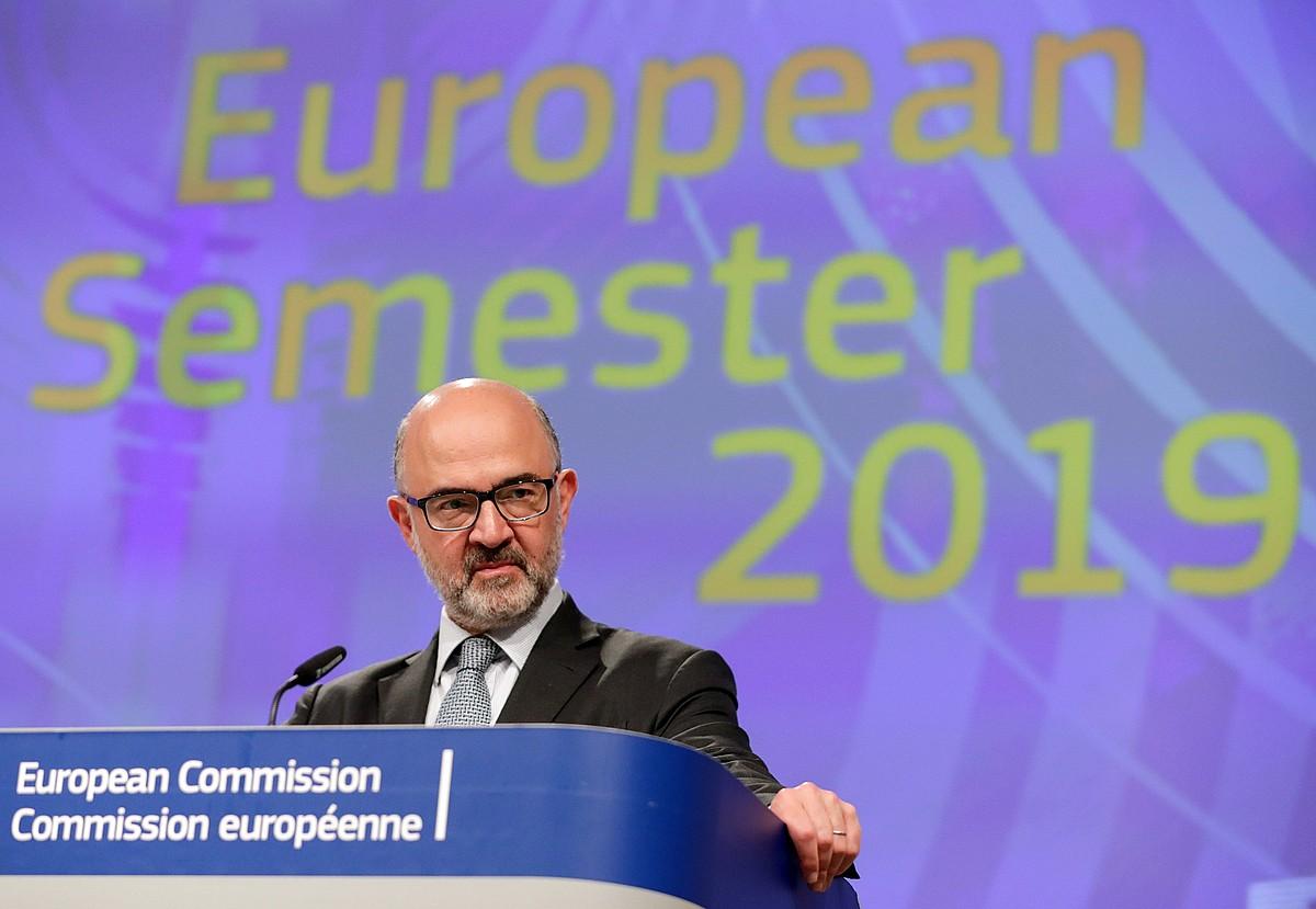 Pierre Moscovici Europako Batzordeko Ekonomia komisarioa, atzo, Bruselan.