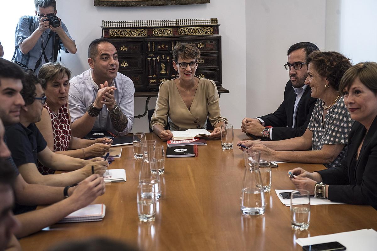 PSN, Geroa Bai, Ahal Dugu eta Ezkerrako ordezkariak, atzo, Nafarroako Parlamentuan. ©JAGOBA MANTEROLA / FOKU