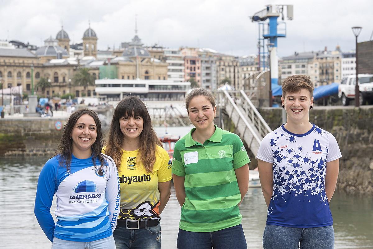 Erika Gonzalez , Ohiane Iraola, Ania Perez eta Xubane Uribarrena, Donostiako kaiko arranplan. ©GORKA RUBIO / FOKU
