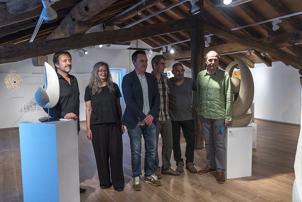 Ezkerretik eskuinera: Pochelu, Cueto, Diez, Huengo, Olmo eta Alberdi. Atzo, Donostiako Euskal Itsas Museoan. ©ANDONI CANELLADA / FOKU
