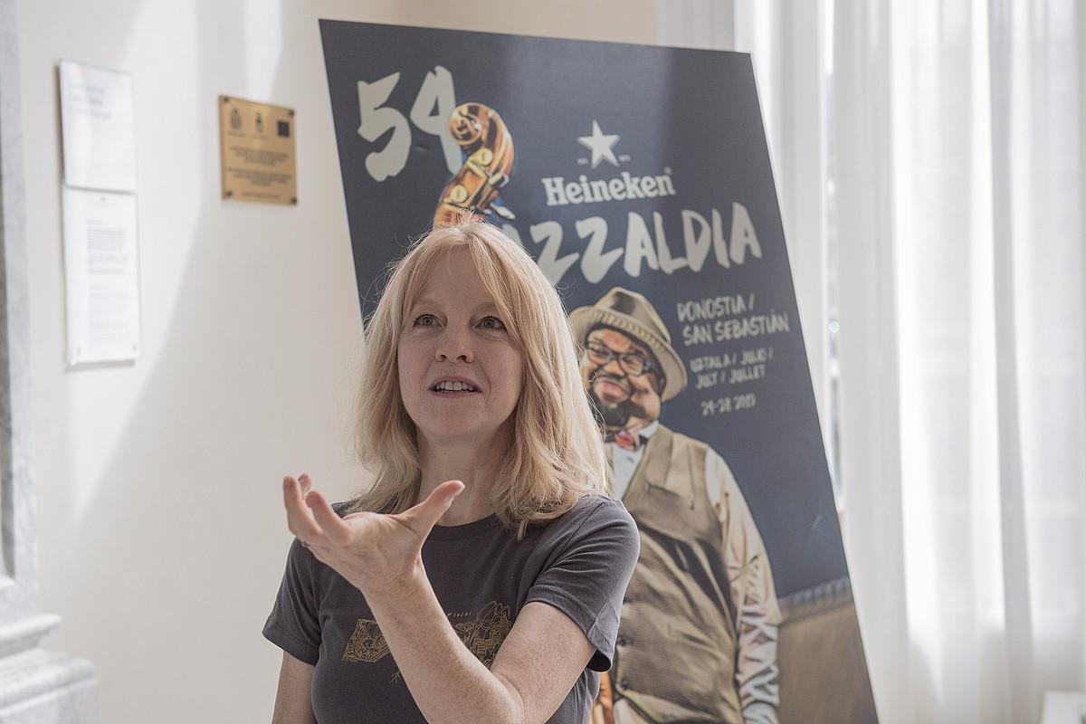 Maria Schneider, atzo goizean emandako prentsaurrekoan. ©GORKA RUBIO / FOKU
