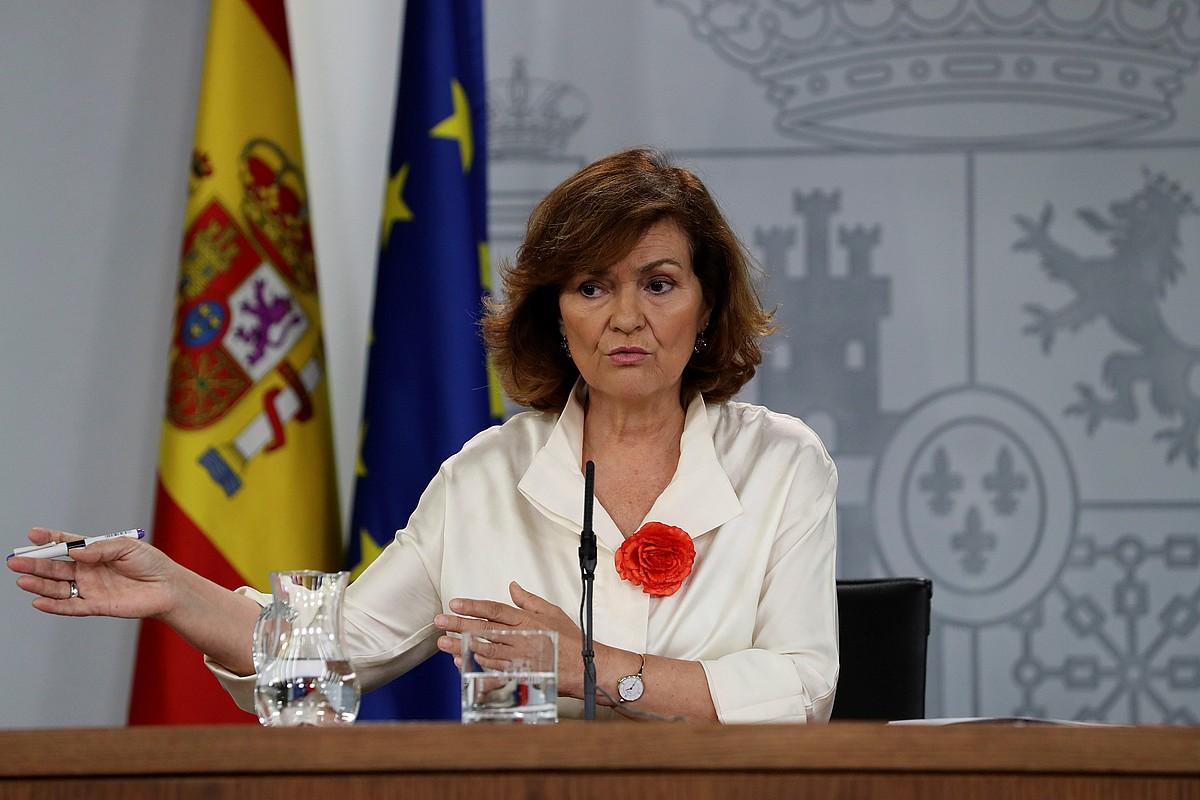 Calvo Espainiako jarduneko presidenteordea, atzo, Ministroen Kontseiluaren ostean egin zuen agerraldian. ©J.J.GUILLEN / EFE