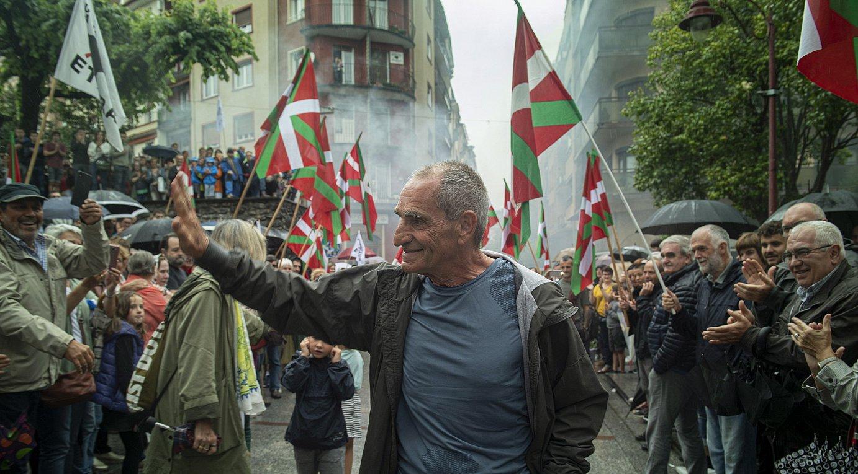 Larunbatean egin zioten harrera Jose Jabier Zabaleta <em>Baldo</em>ri, Hernanin. ©JON URBE / FOKU
