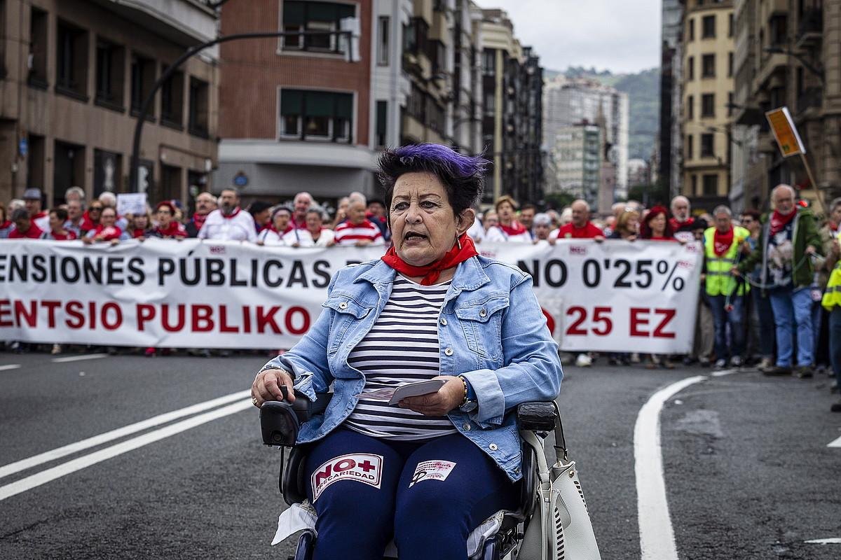 Pentsiodunen mobilizazioak milaka pertsona batu zituen, atzo, Bilboko kaleetan. ©ARITZ LOIOLA / FOKU
