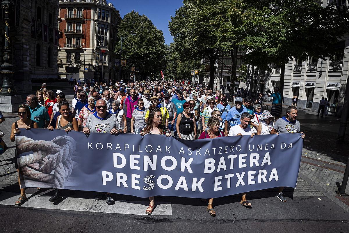 Presoen eskubideen aldeko manifestazioaren burua. ©ARITZ LOIOLA /FOKU
