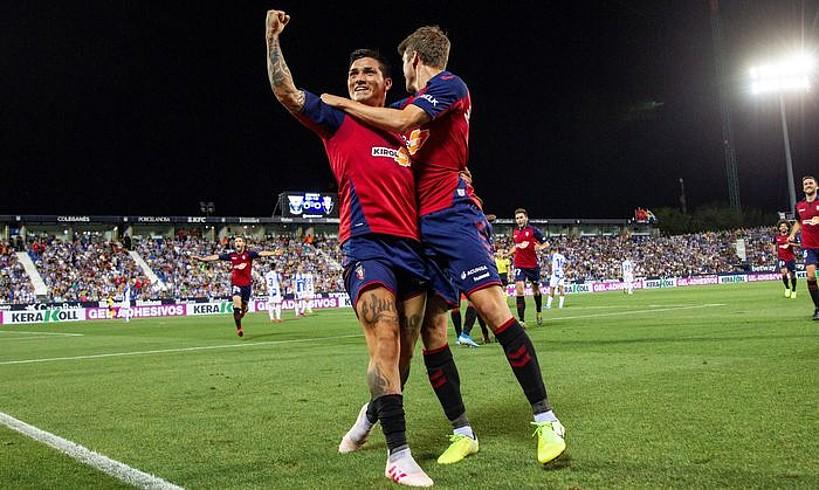 Ezequiel Avila <em>Chimy</em> eta Marc Cardona, aurrenekoak Leganesi sartutako gola ospatzen. ©RODRIGO JIMENEZ / EFE
