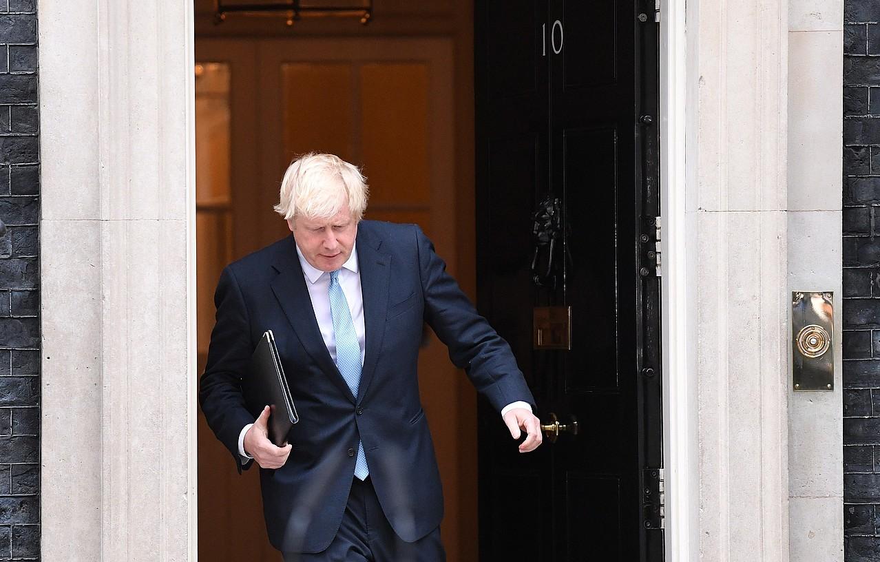 Boris Johnson Erresuma Batuko lehen ministroa, atzo, agerraldia egitear zela. ©NEIL HALL / EFE