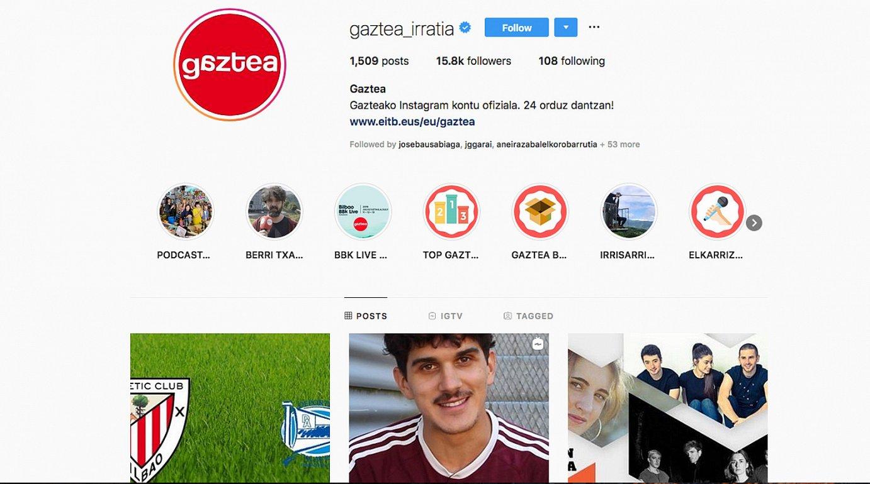 Gaztearen Instagrameko kontuak 15.800 jarraitzaile baino gehiago ditu.