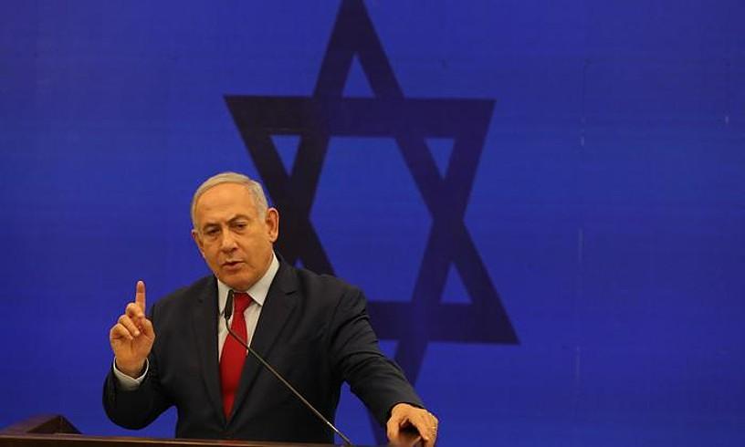 Benjamin Netanyahu Israelgo jarduneko lehen ministroa, pasa den astean Tel Aviven egindako agerraldi batean. ©ABIR SULTAN / EFE