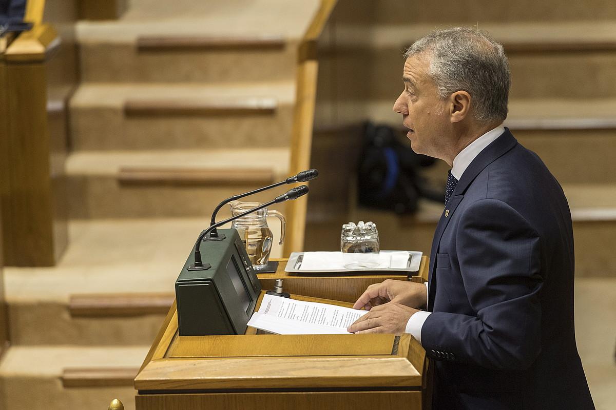 Iñigo Urkullu lehendakaria, atzo, Eusko legebiltzareko saioan. ©JUANAN RUIZ / FOKU