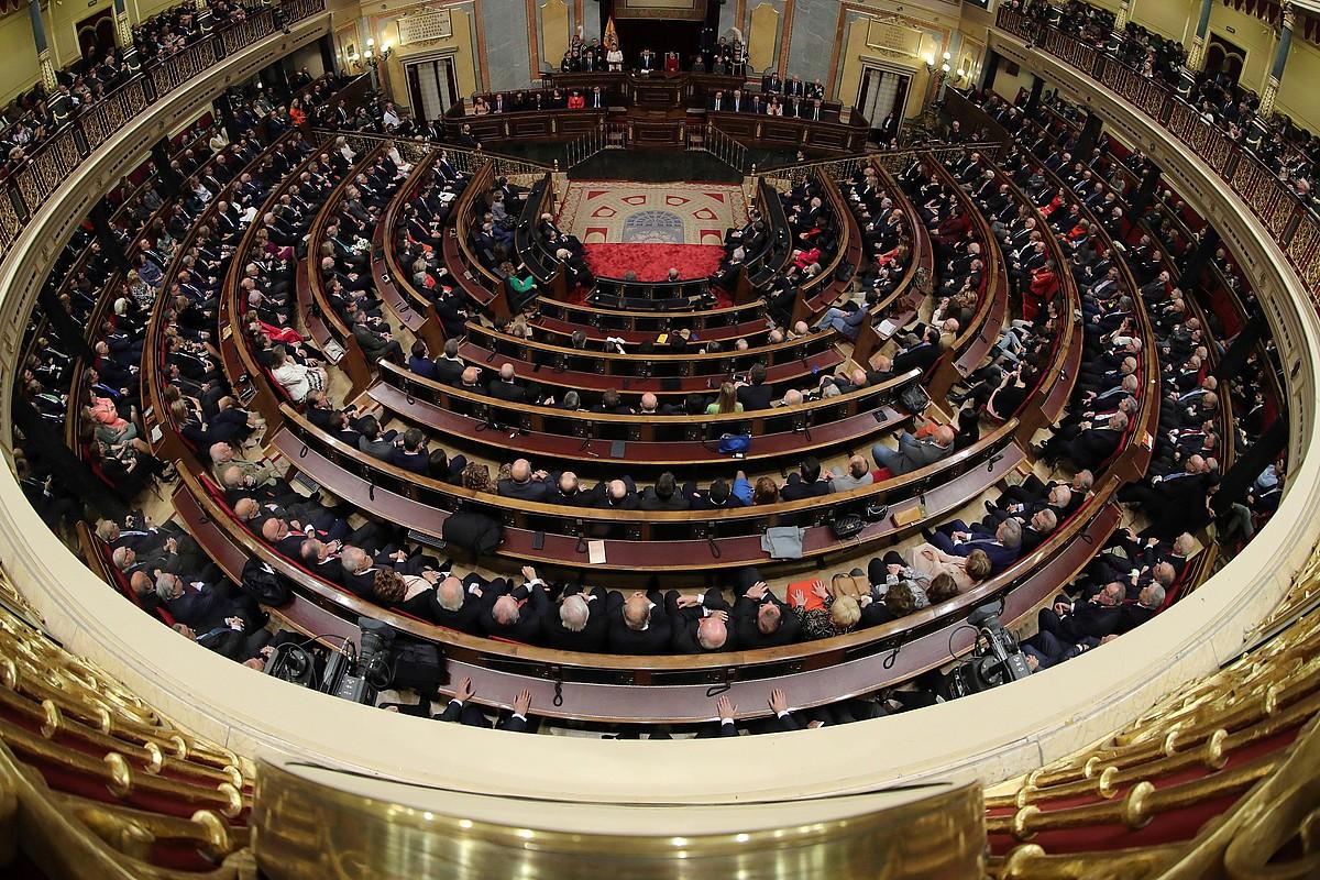 Espainiako Kongresuaren hemizikloa, iazko irudi batean. Gorteek (Kongresuak eta Senatuak) atzo izan zuten legegintzaldiko azken lan eguna. ©ZIPI / EFE