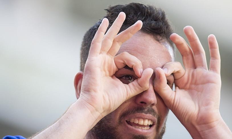 Edu Exposito, Celtari sartutako gola ospatzen. ©JUAN CARLOS RUIZ / FOKU
