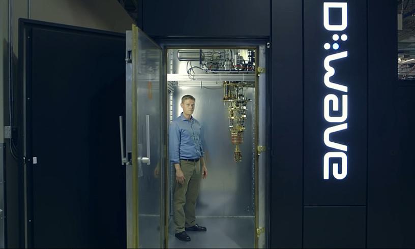 Googlek eta NASAk Quantum Artificial Intelligence Lab laborategian duten ordenagailu kuantikoa. Armairu handi baten tamaina du. Prozesagailua zintzilikaturiko besoaren puntan dago. ©GOOGLE