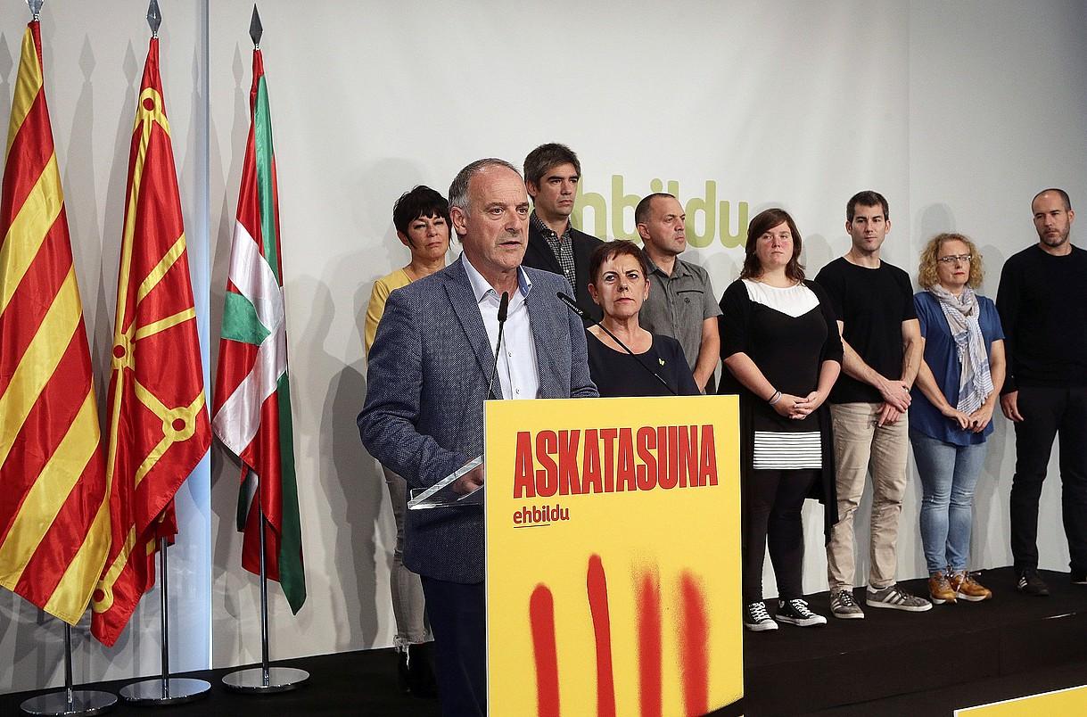 EH Bilduk sententzia ezagutu orduko egindako agerraldia, atzo, Donostian. ©GORKA ESTRADA / EFE