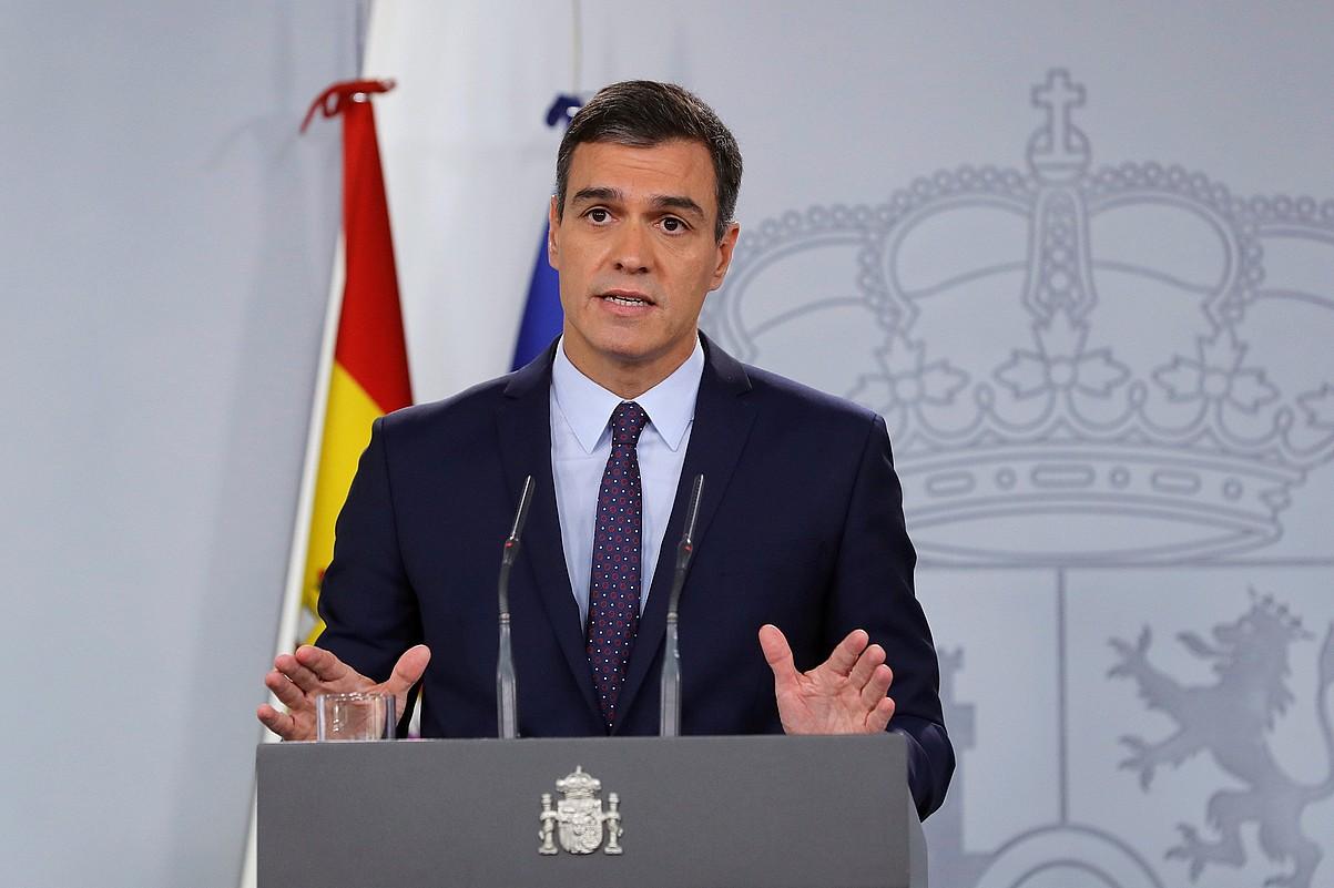 Pedro Sanchez, atzo, Auzitegi Gorenaren epaiari buruzko balorazioa egiteko agerraldian. ©BALLESTEROS / EFE