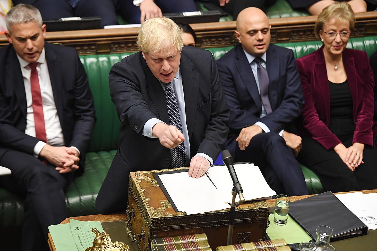 Erresuma Batuko lehen ministro Boris Johnson, Komunen Gaberan eginiko eztabaidan, atzo. ©JESSICA TAYLOR / EFE