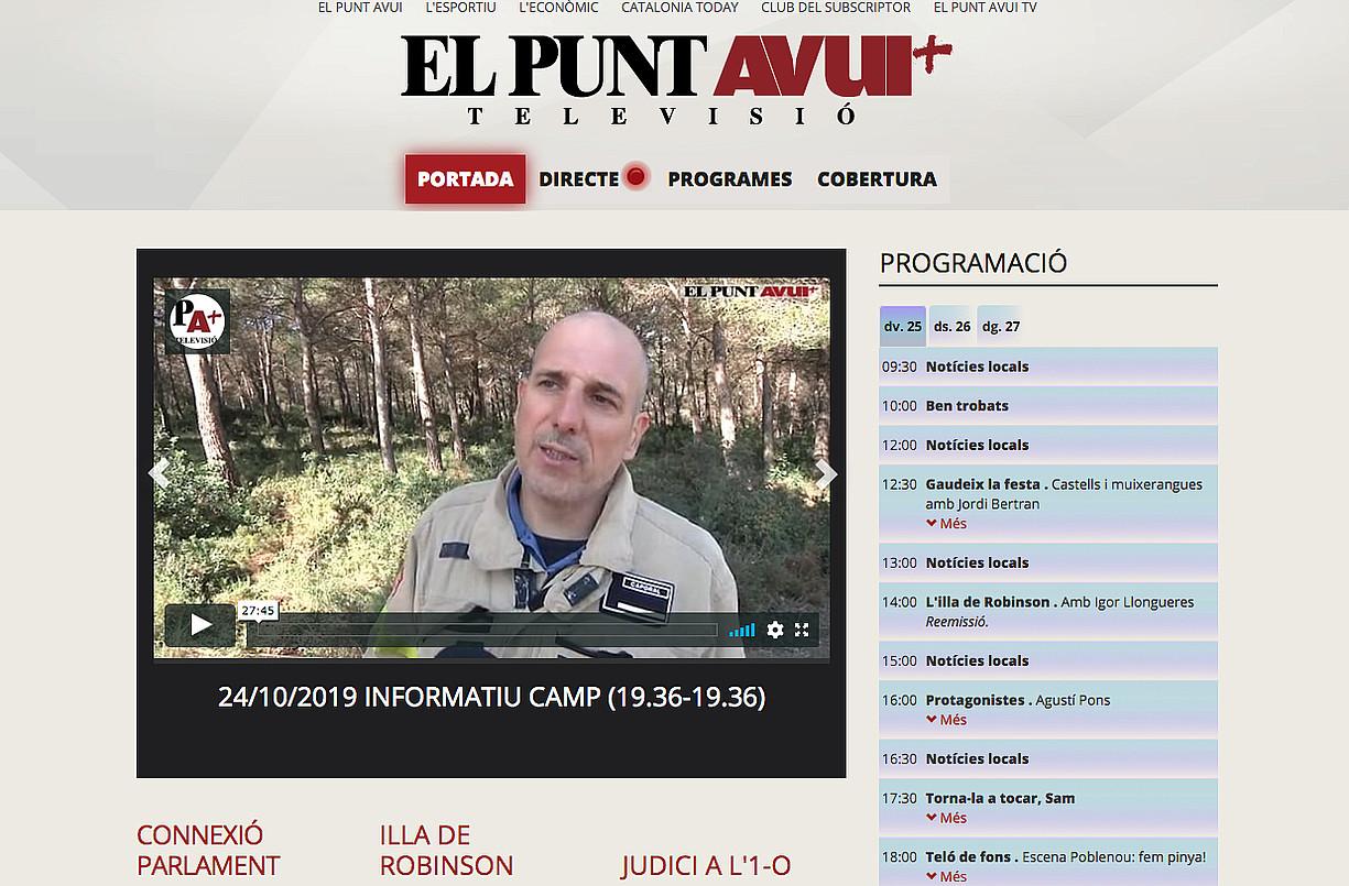 El Punt Avui TV katearen webgunearen azala. ©BERRIA