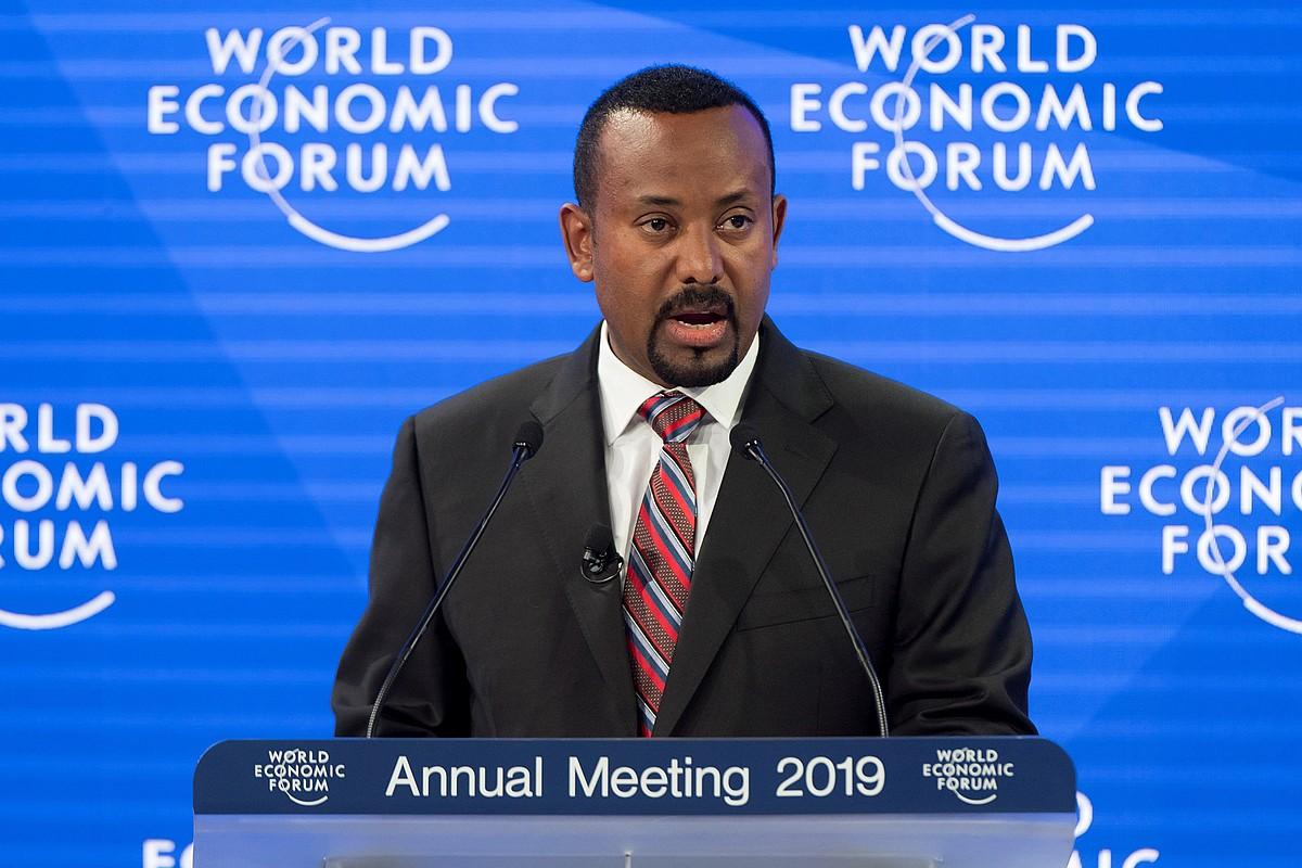 Abiy Ahmed Etiopiako lehen ministroa Suitzako Davos hiriko foroan, aurtengo urtarrilean. ©LAURENT GILLIERON / EFE