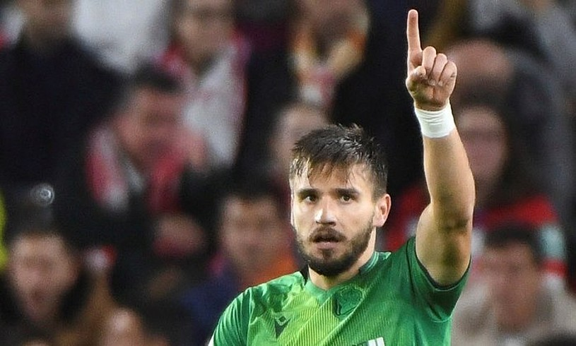 Cristian Portugues, <em>Portu</em>, Granadari sartutako lehen gola ospatzen, atzo, Los Carmenes estadioan.