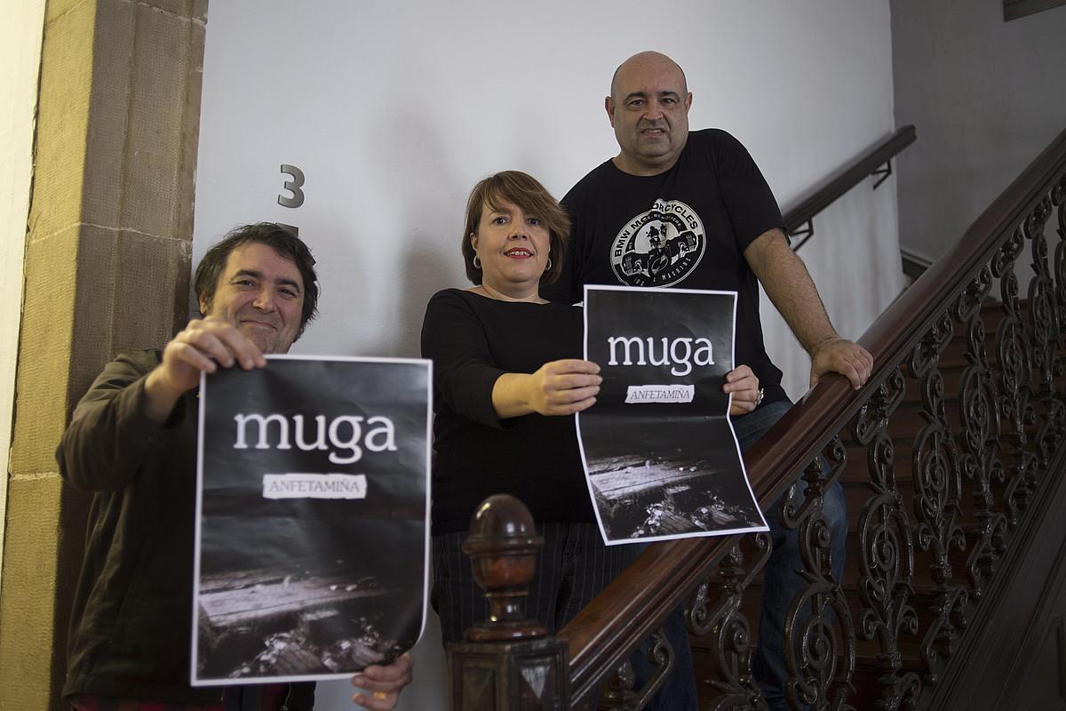 Iñigo Romera, Itziar Beristain eta Alberto Gonzalez, atzo, Donostian eginiko aurkezpenean. ©JUAN CARLOS RUIZ / FOKU