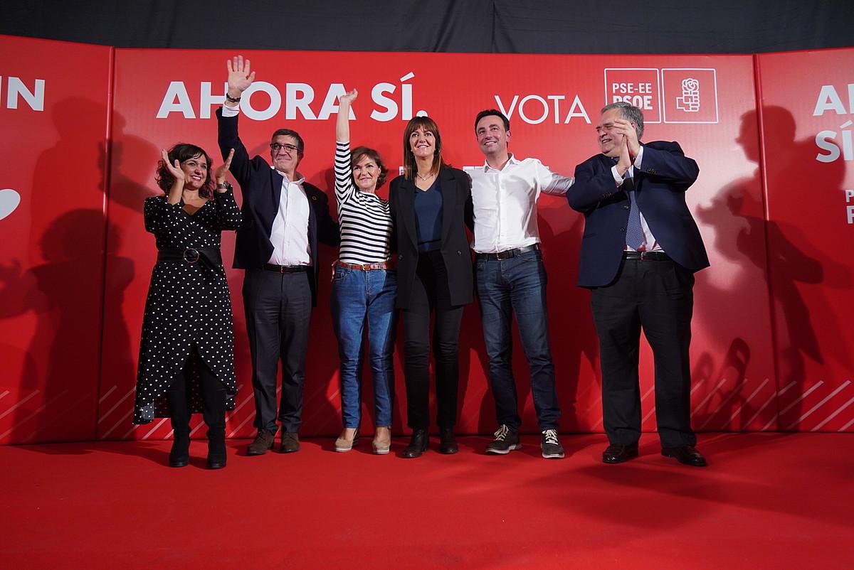 Lopez, Mendia eta Calvo, Bilboko mitinean.