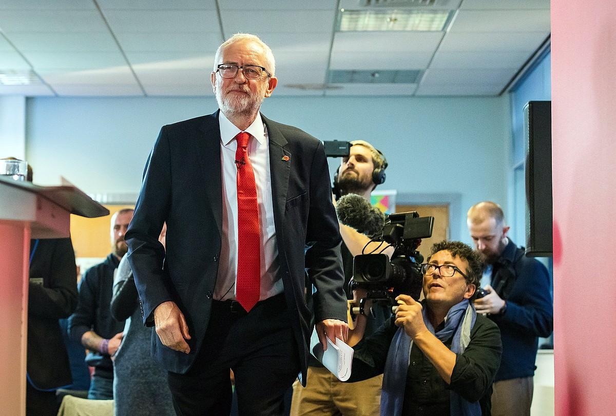 Corbyn, atzo, kanpainan. Laboristek ez dute aliantzetan parte hartuko. ©V. F. / EFE