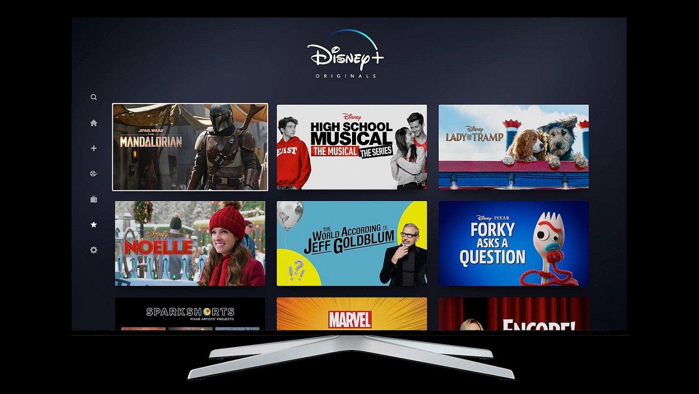 Disney Plus <em>streaming</em> bidezko plataformaren menua. Eduki ugari ikusi ahalko dira, hilean kuota bat ordainduta. ©EFE