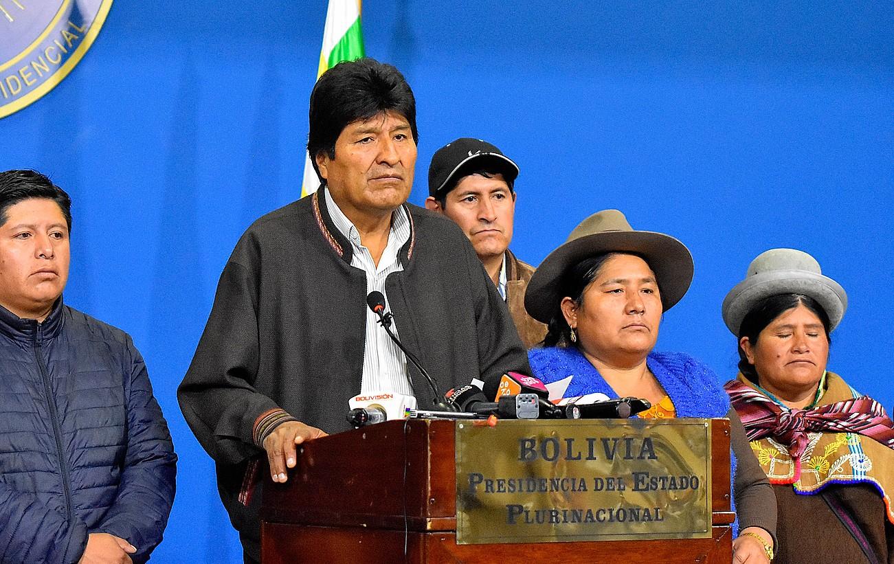 Evo Morales presidentea El Alto hirian egin zuen agerraldian, atzo goizean. ©EFE