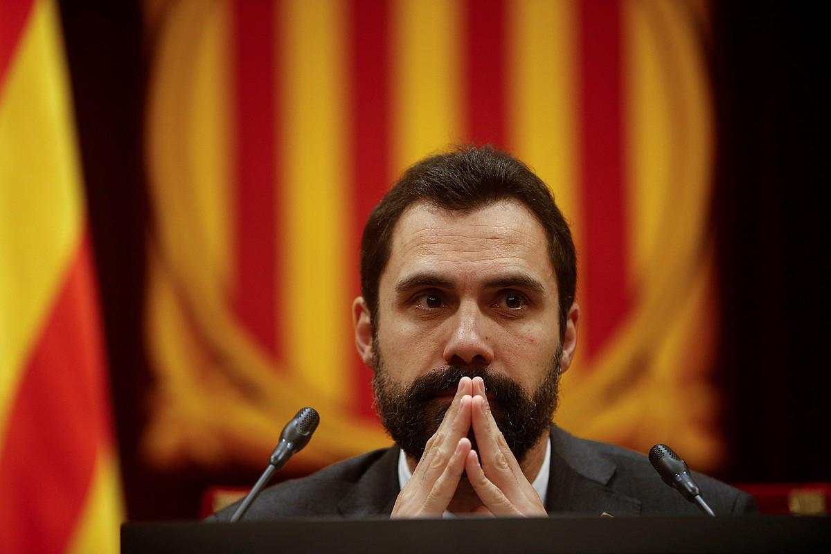 Roger Torrent Kataluniako Parlamentuko presidentea, atzoko saioan. ©QUIQUE GARCIA /EFE