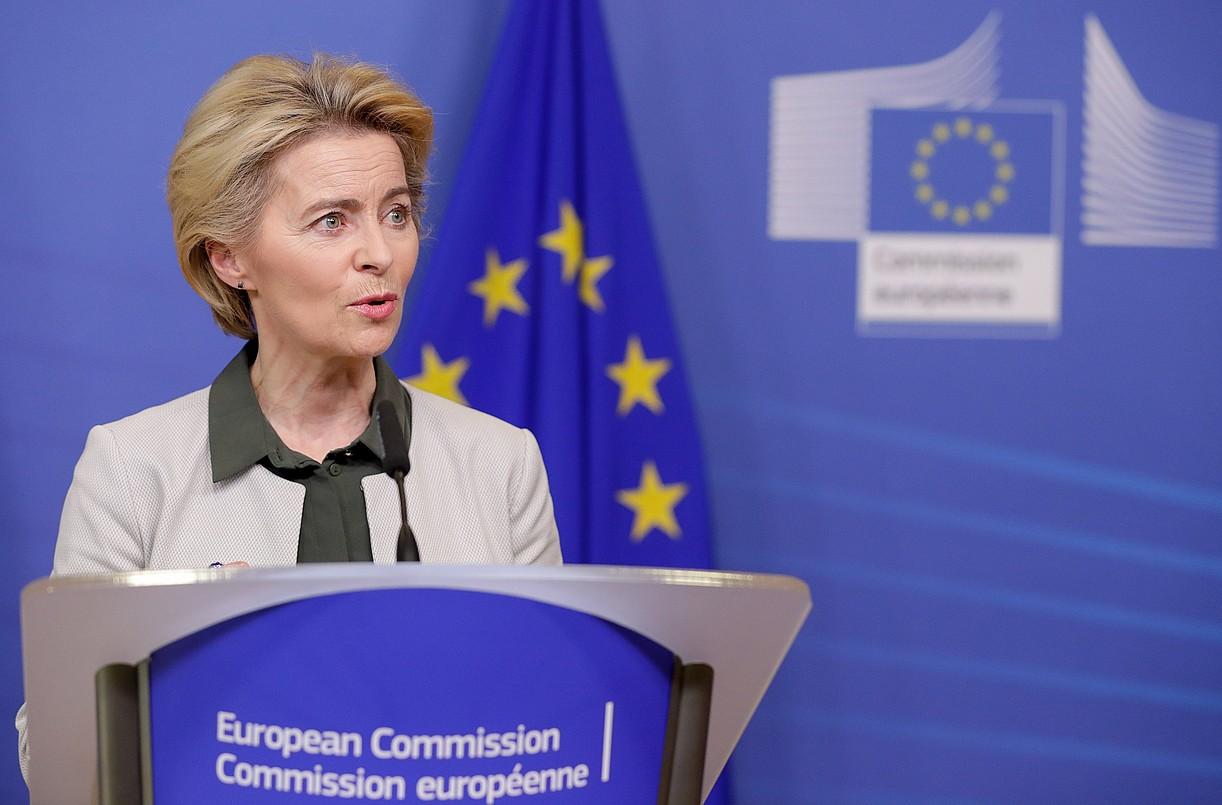 Ursula Von der Leyen Europako Batzordeko presidentea, atzo, Itun Berdea aurkezten. ©STEPHANIE LECOCQ / EFE