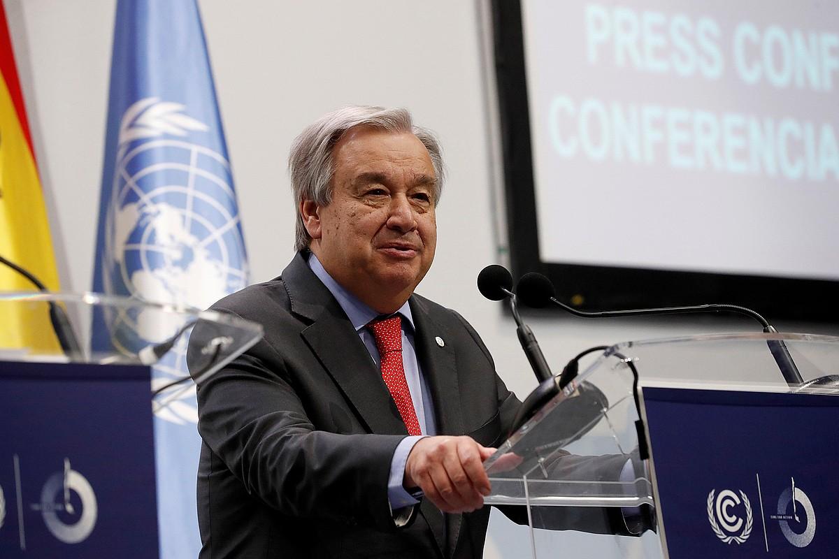 Antonio Guterres NBEko idazkari nagusia, COP25eko prentsaurreko batean, joan den astean, Madrilen. ©ZIPI / EFE
