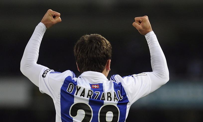 Mikel Oiartzabalek sartutako gol bati esker irabazi zion azken aldiz Realak Bartzelonari Anoetan. ©JON URBE / FOKU