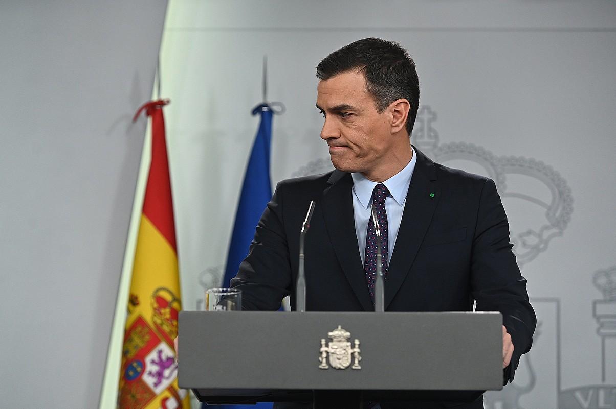 Pedro Sanchez Espainiako jarduneko presidentea, herenegun, Moncloan. ©FERNANDO VILLAR / EFE