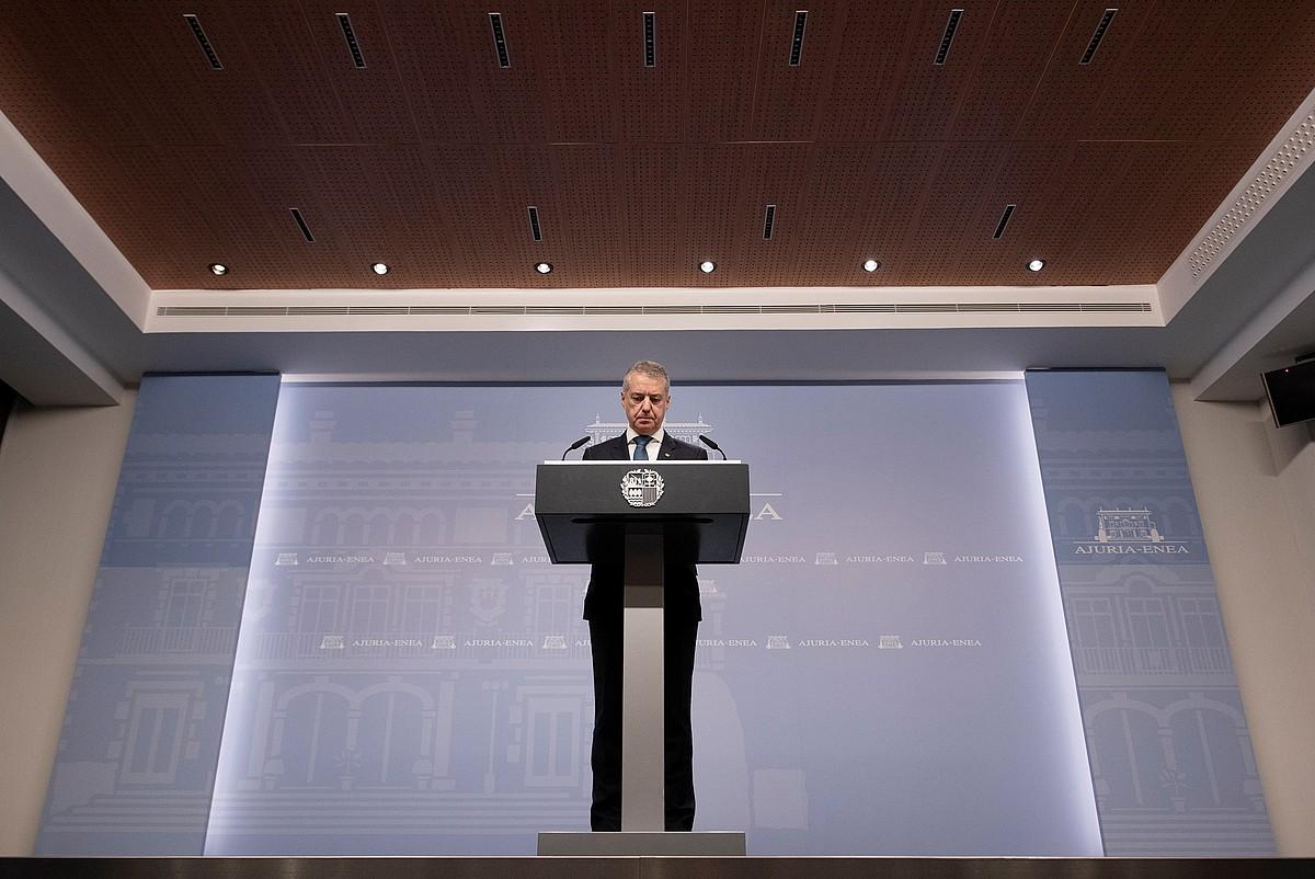 Iñigo Urkullu Eusko Jaurlaritzako lehendakariak agerraldia egin zuen atzo, Gasteizen. ©ADRIAN RUIZ-HIERRO / EFE