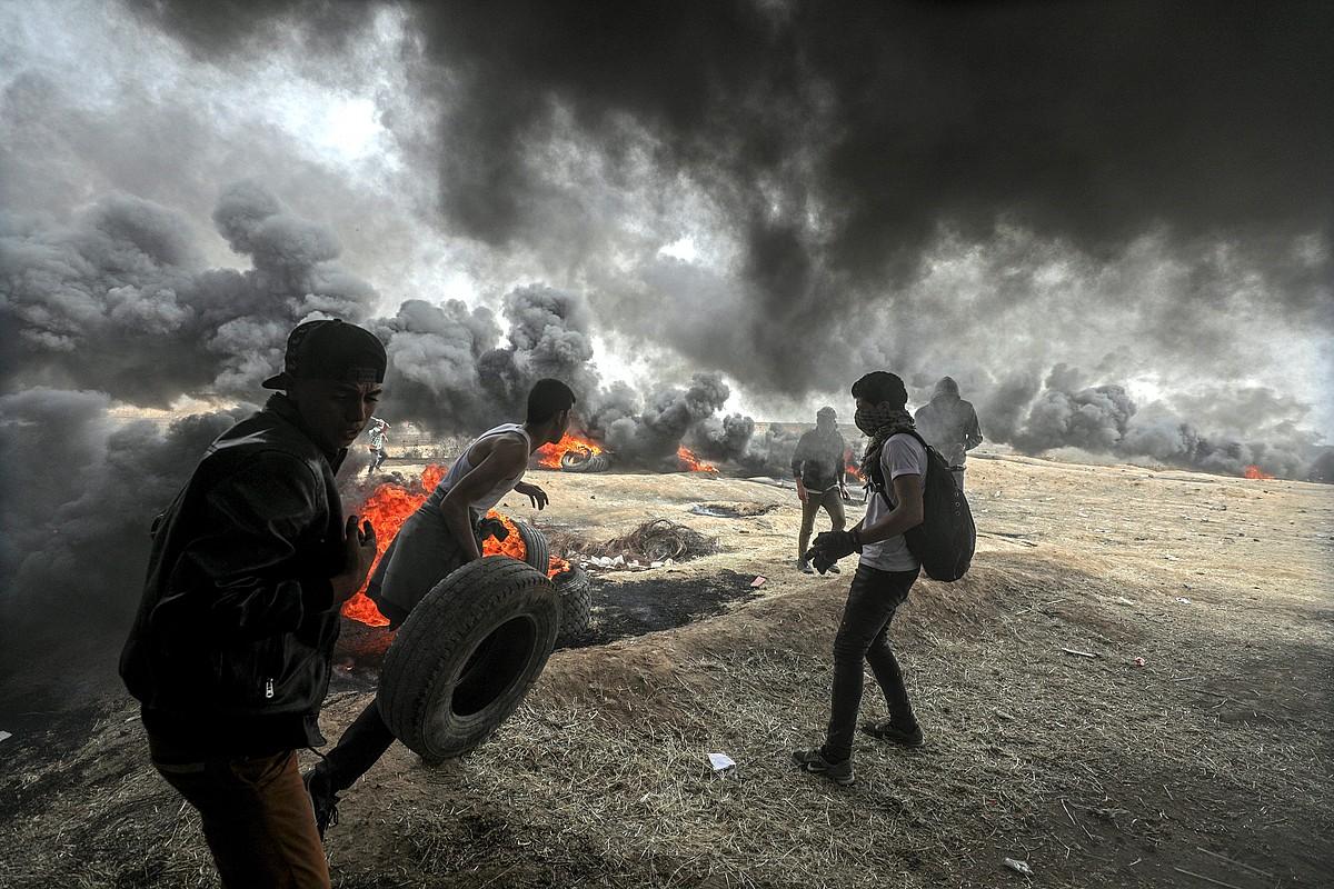 Itzuleraren Martxa Handiko protesta, 2018ko apirilean, Gazan. ©MOHAMED SABER / EFE