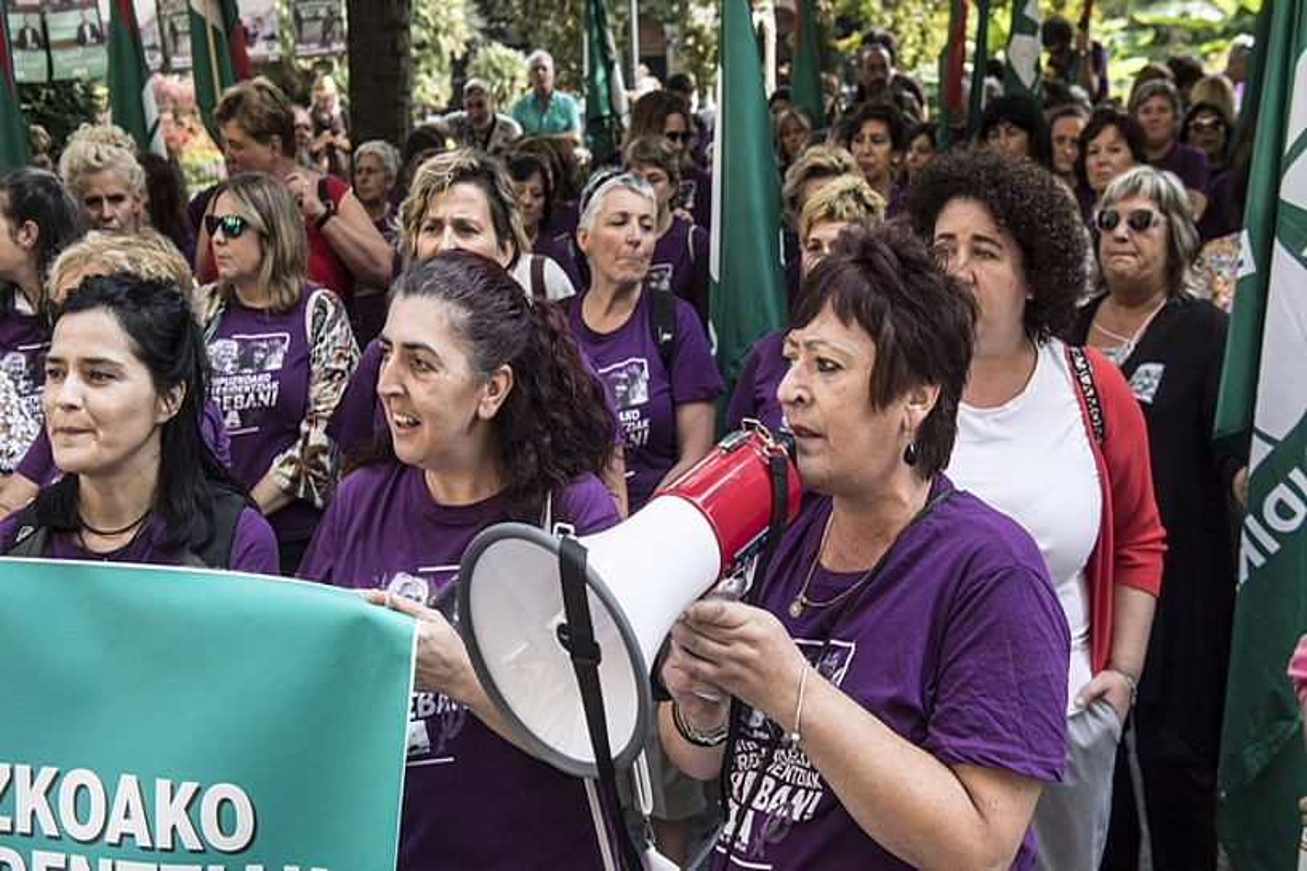 Langileak protestan, artxiboko irudi batean. ©JAGOBA MANTEROLA / FOKU