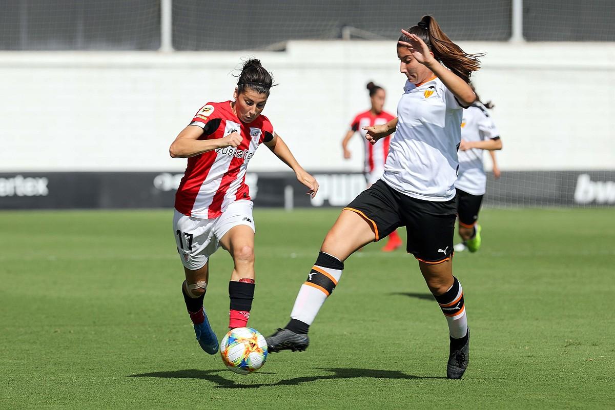 Lucia Garciak denboraldiko bosgarren gola sartu zuen atzo. ©ANA ESCOBAR / EFE