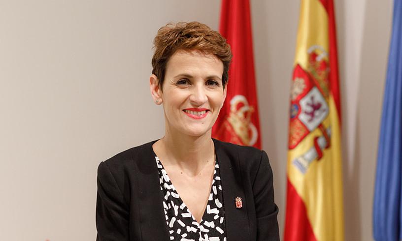 Maria Txibite Nafarroako lehendakaria, atzoko hitzaldian. ©NAFARROAKO GOBERNUA