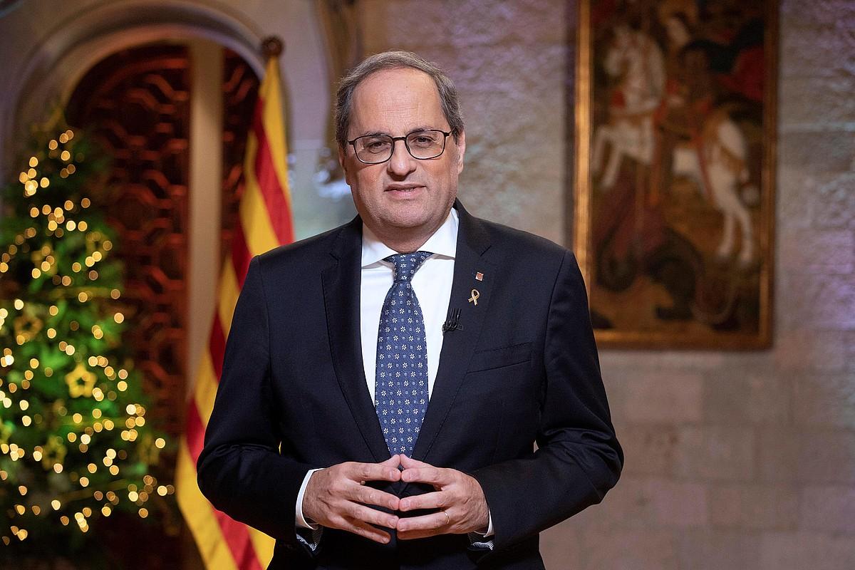 Quim Torra Kataluniako presidentea urte amaierako mezu instituzionala ematen, joan den astelehenean, Generalitatearen jauregian. ©RUBEN MORENO / EFE