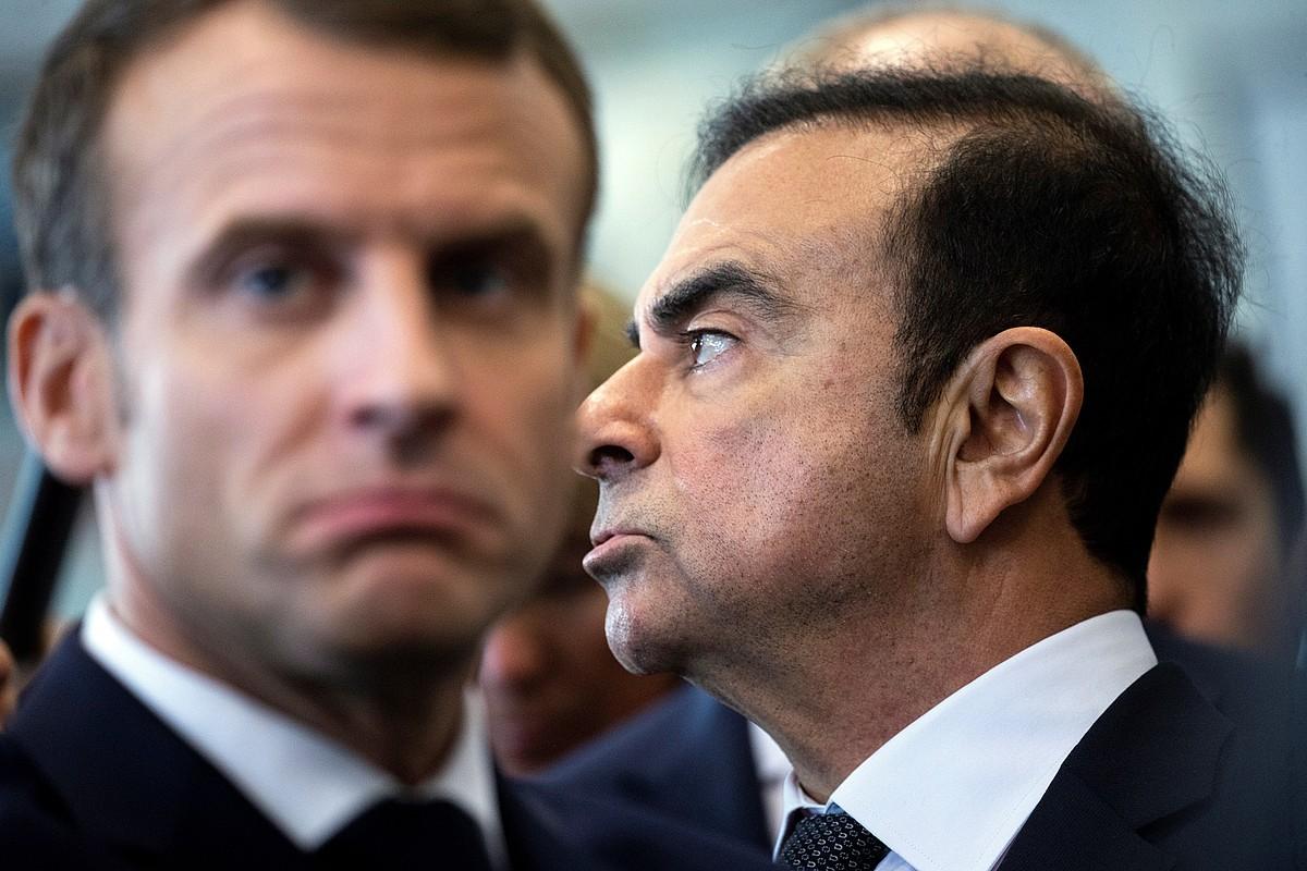 Emmanuel Macron Frantziako presidentea eta Carlos Ghosn Nissan-Renaulteko buruzagi ohia. ©ETIENNE LAURENT / EFE