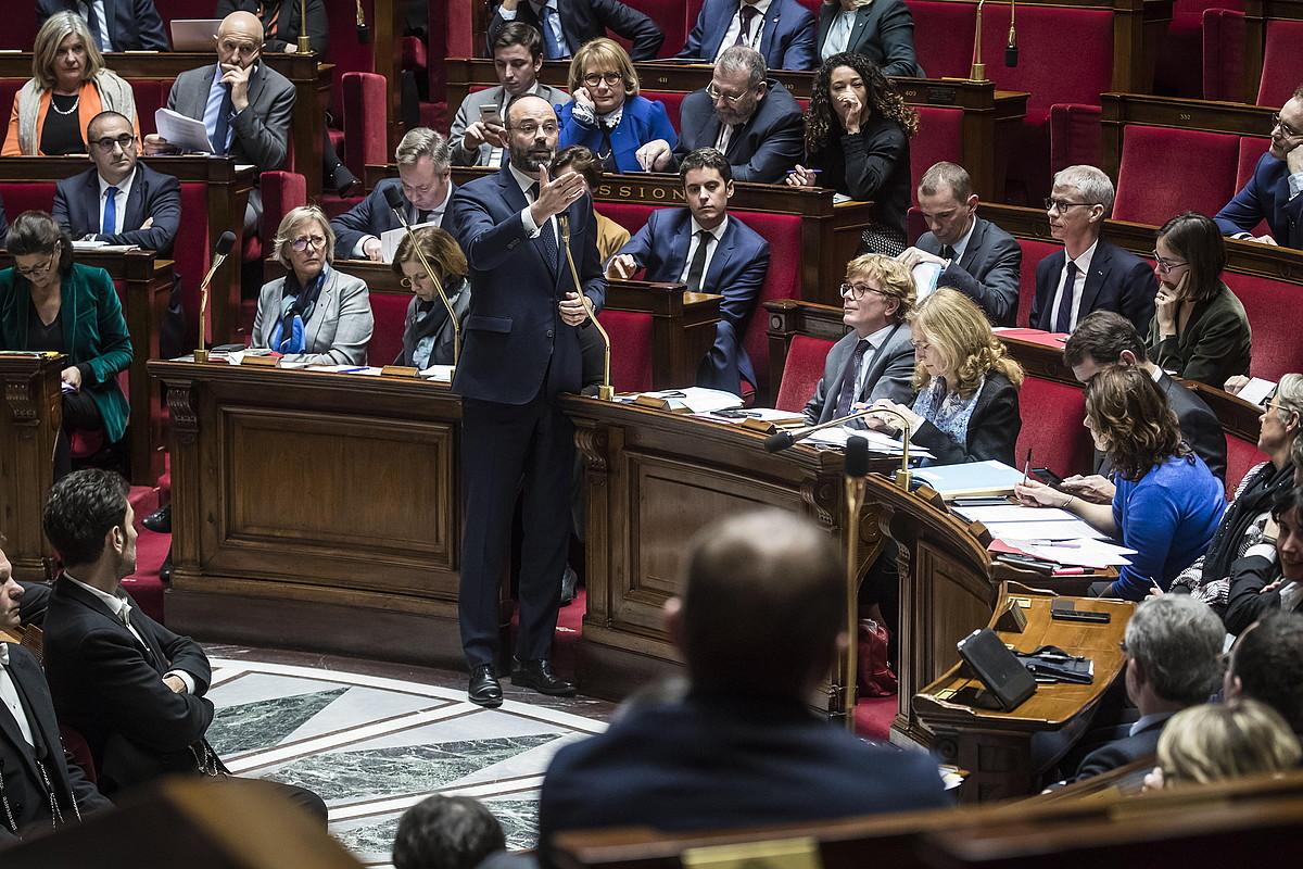 Edouard Philippe lehen ministroa, atzo, Frantziako Asanblean. ©CHRISTOPHE PETIT TESSON / EFE