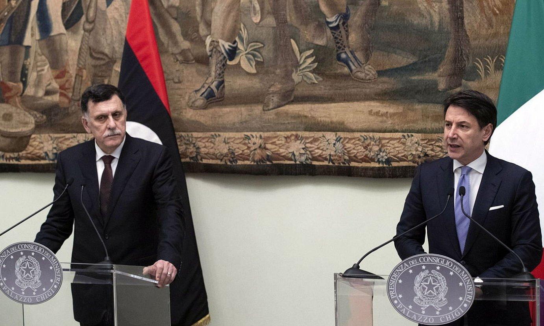 Fayez al-Sarraj Libiako lehen ministroa eta Giuseppe Conte Italiakoa, joan den larunbatean, Erroman. ©CLAUDIO PERI /EFE