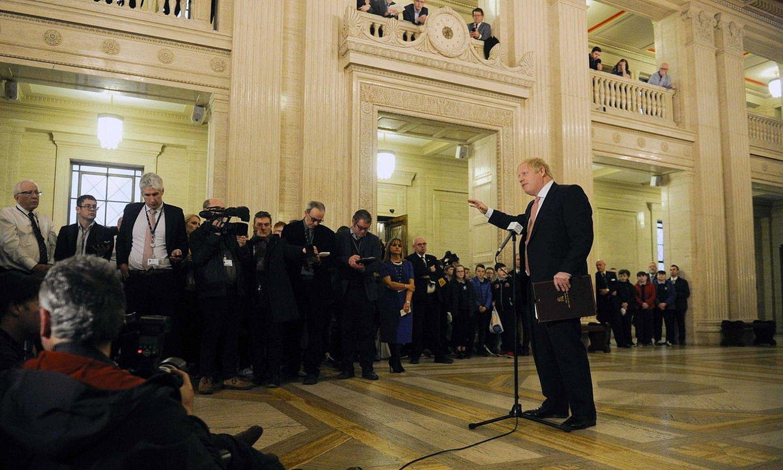 Johnson Ipar Irlandan izan zen atzo, parlamentuan. ©MARK MARLOW / EFE
