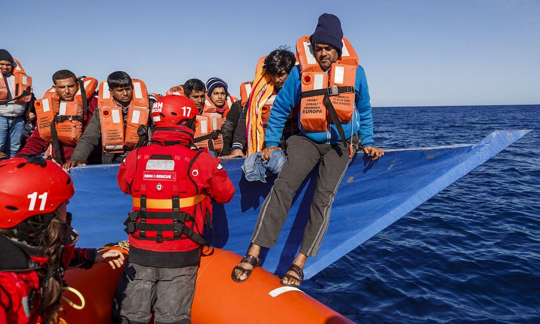 Egunotan erreskatatutako pertsonak, <em>Aita Mari</em> ontzian. ©PABLO GARCIA