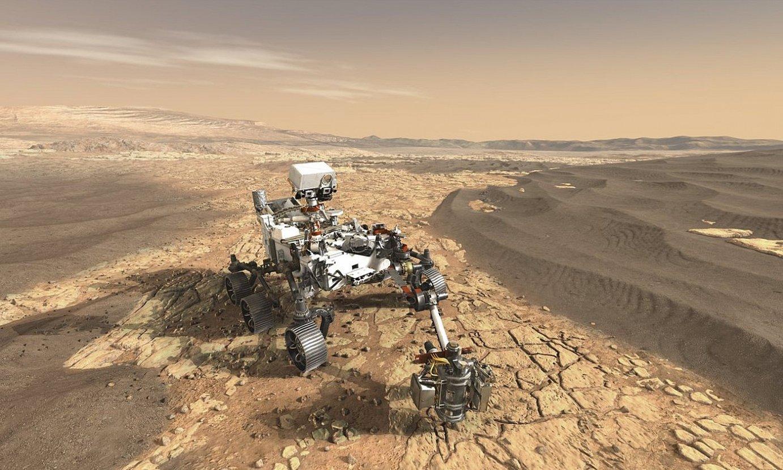 NASAren <em>Mars 2020</em> ibilgailu esploratzailea Marten irudikatzen duen marrazkia. ©NASA