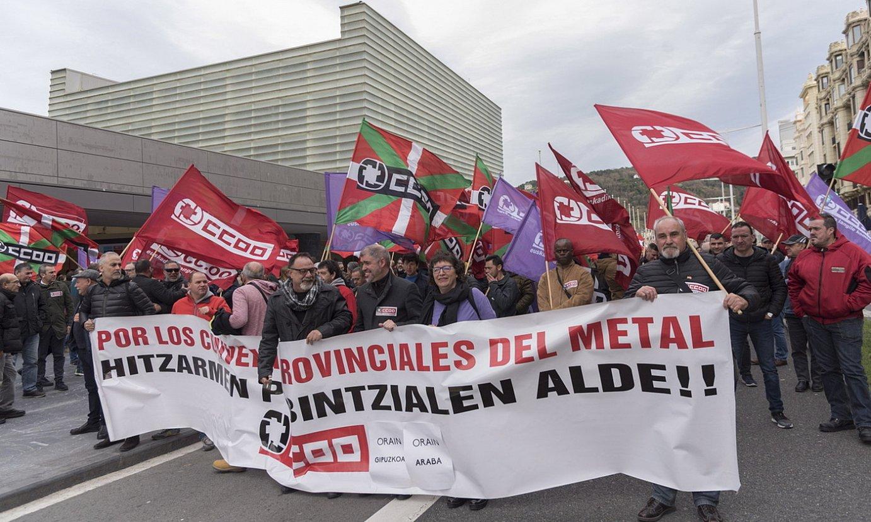CCOOk metalgintzako akordioen alde Donostian antolaturiko manifestazio bat. ©ANDONI CANELLADA. / FOKU